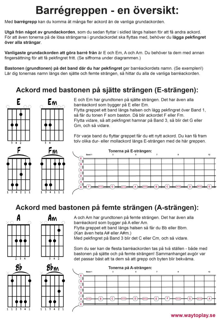 Barrégrepp på gitarr - en översikt